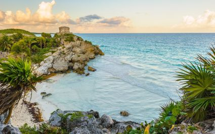Enchanting Travels Mexico Tours seaside view of the Castle at Tulum, Atlantic Ocean, Mexico, Yutacan - Best trips to take in 2020