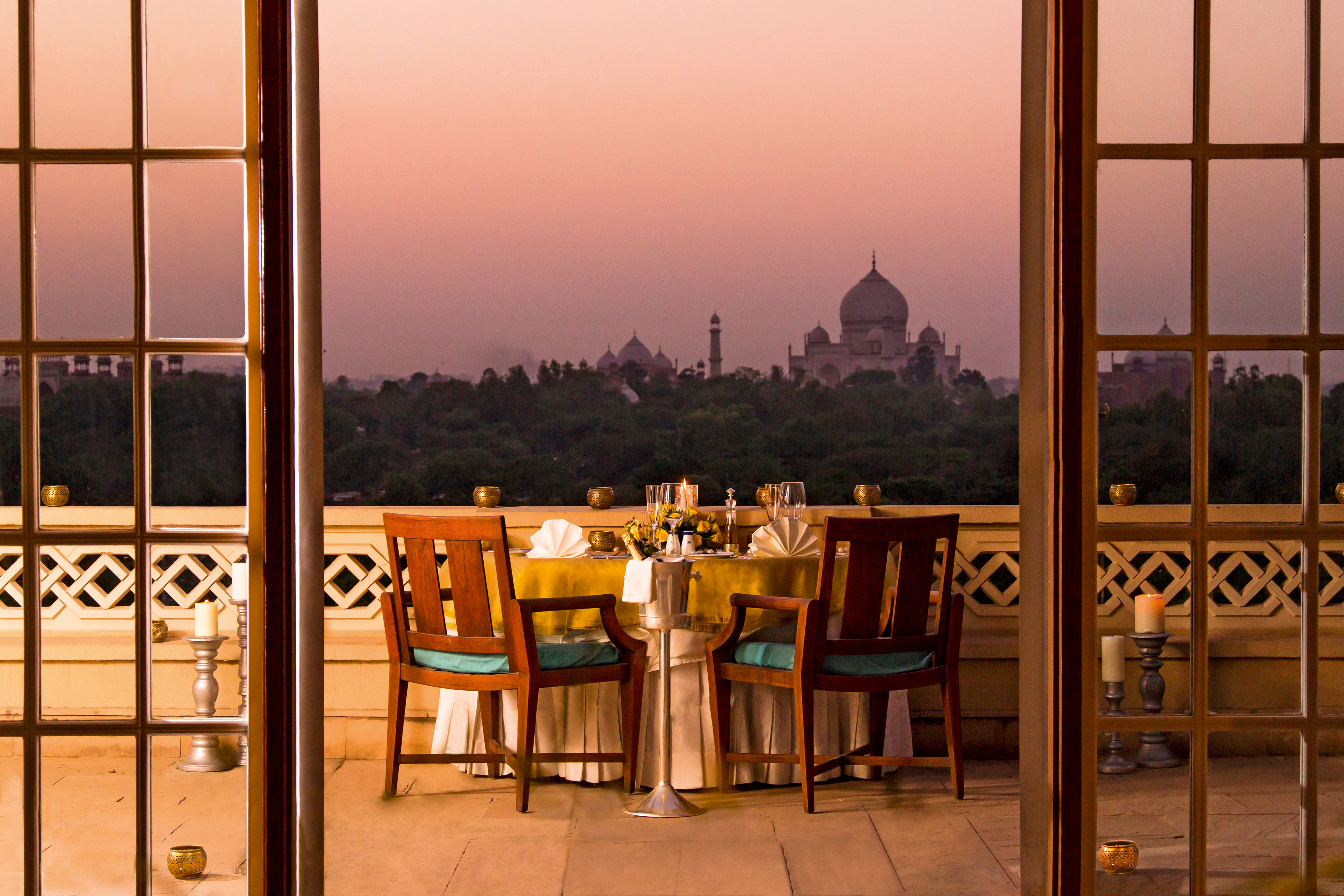 Balcony view at hotel The Oberoi Amarvilas in Agra, North India