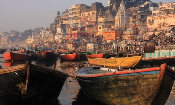 Small Boats alongside the holy River Ganges in Varanasi