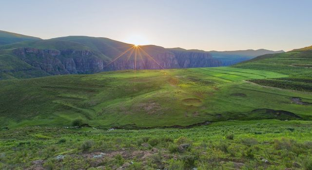 Sonnenuntergang in Lesotho