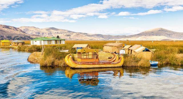Traditional reed boat lake Titicaca in Peru