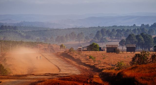 The 'red soil' landscape of Rattanakiri in the dry season.