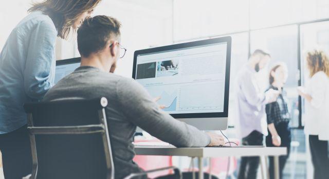 Coworking process, designers team working modern office