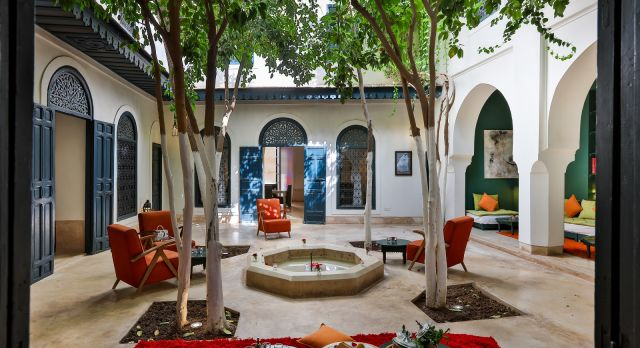 Inner courtyard at Ried Dar Sara Hotel in Marrakech, Morocco