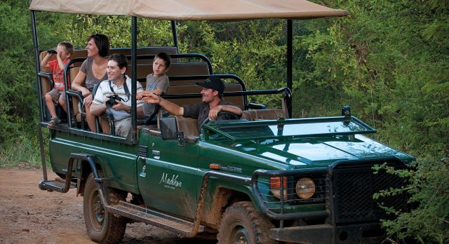 Family safari drive at the Madikwe Lodge