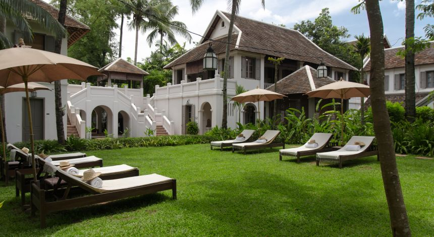 Garden at hotel Satri House in Luang Prabang, Laos