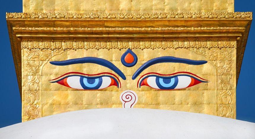 Augen des Buddha auf dem Stupa von Bodnath