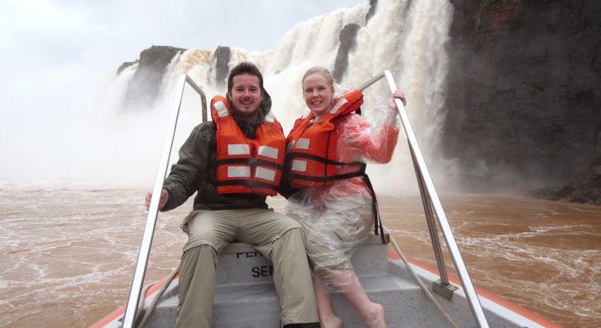 Enchanting Travels guests Mr and Mrs Cullum at Iguazu Falls