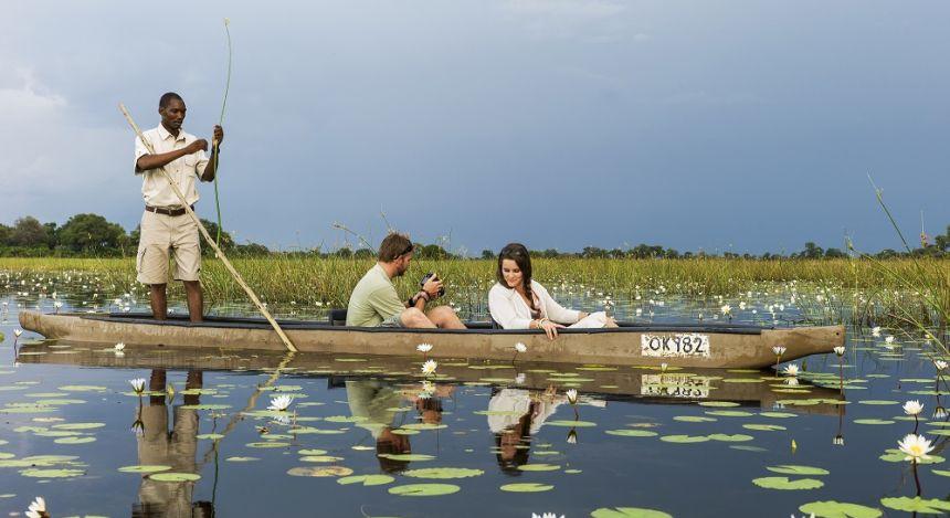 Bootsfahrt im Vumbura Plains in Okavango Delta, Botswana