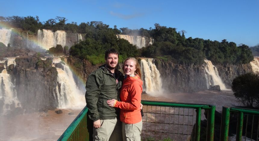 Enchanting Travels guests Mr and Mrs Cullum at the Brazilian side of Iguazu Falls