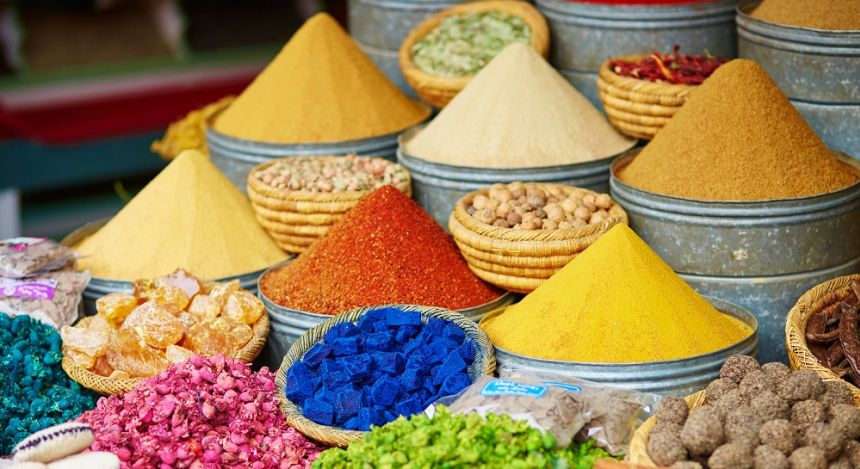 colorful spices being sold in the market