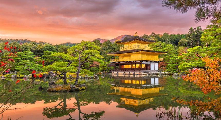 Enchanting Travels Japan Tours Kyoto, Japan at Kinkaku-ji, The Temple of the Golden Pavilion at dusk