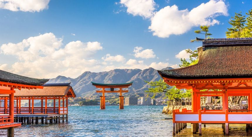 Centuries-old Itsukushima shrine on Miyajima island in Japan