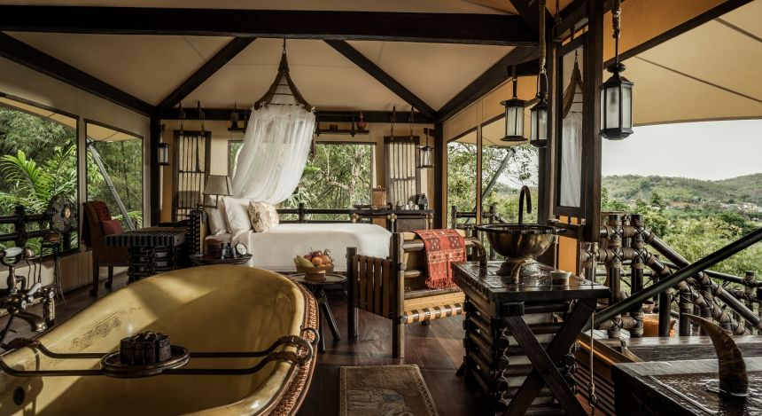Guest room at Four Seasons Tented Camp, Golden Triangle Hotel in Chiang Saen, Thailand