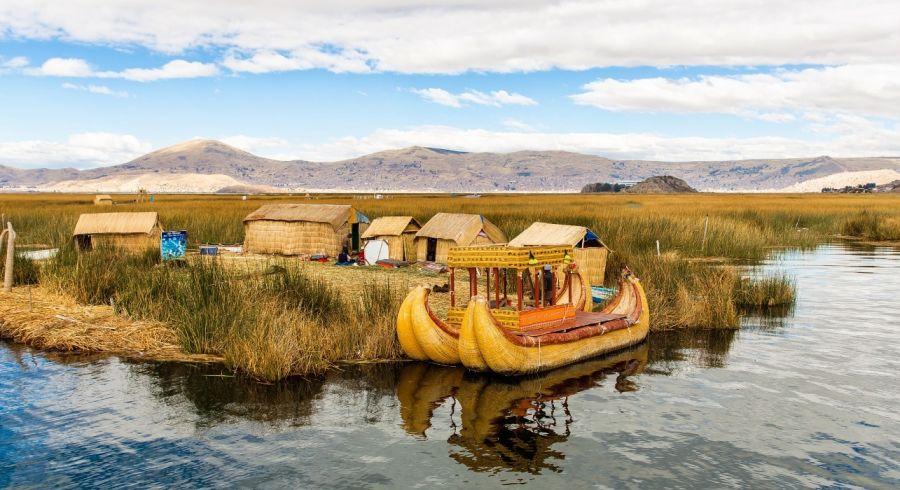 The reed houses of Lake Titcaca in Puno , Peru