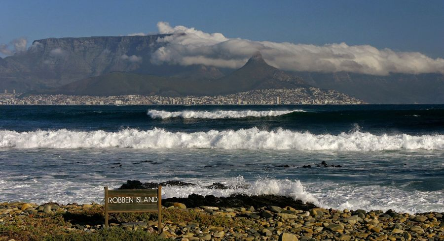 Enchanting Travels South Africa Tours Cape Town and Table mountain seen from the beach of Robben Island