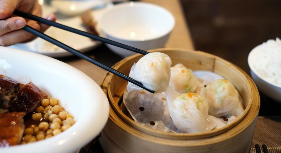 Cantonese dimsums on the table at Hong Kong
