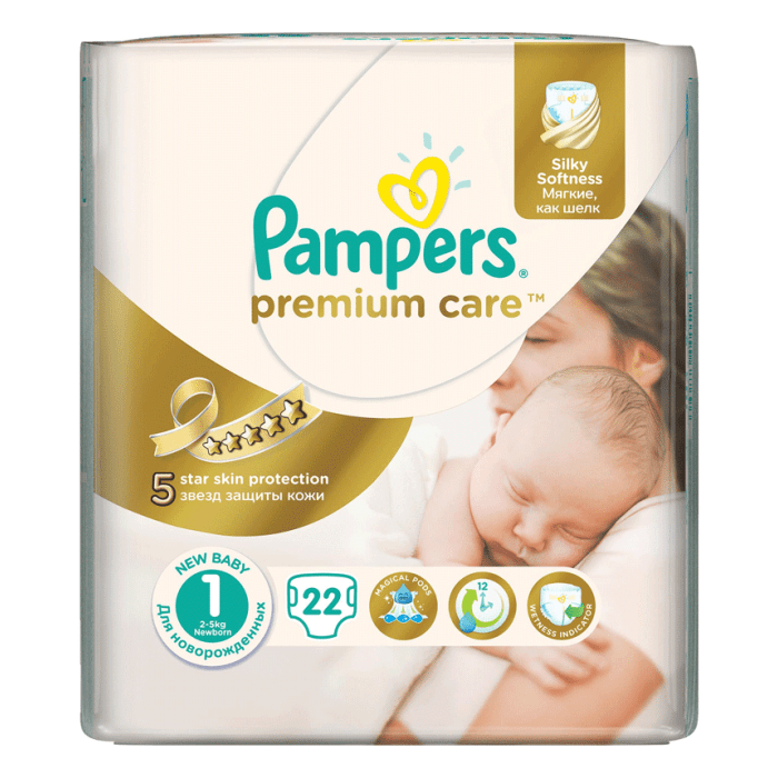 Pampers Premium Care Baby Diapers New Born No 1 | 2-5kg | 22 Diapers