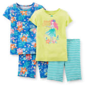 Carters Girls Sea You Late Pajamas 4piece