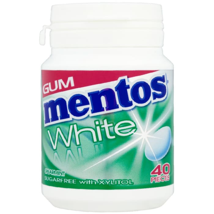 Mentos Gum White Sugar Free Spearmint Bottle