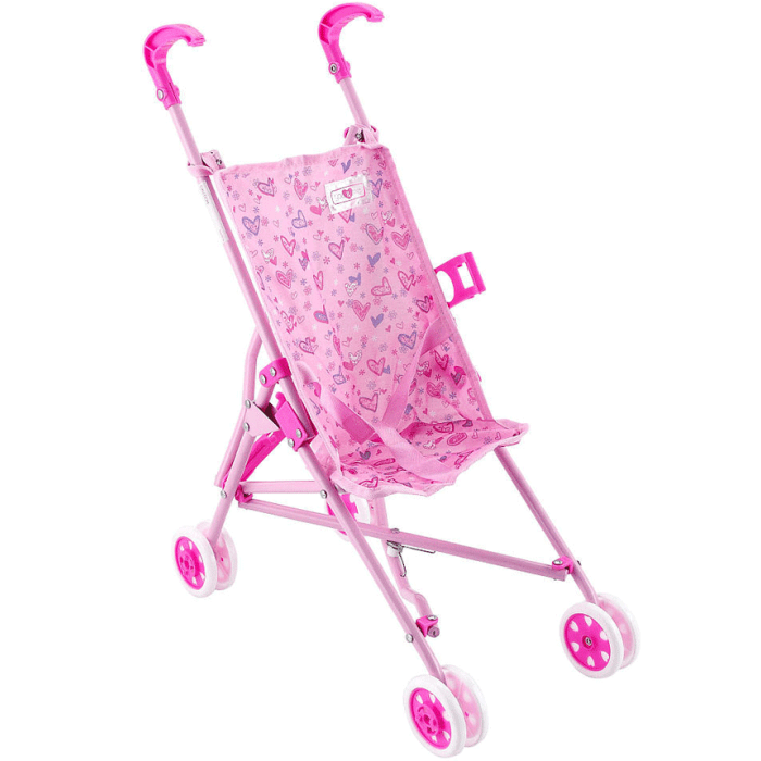 You & Me 12-18 inch Doll Stroller - Pink with Heart Print