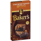 Baker's Unsweetened Chocolate 100% Cacao Premium Baking Bar