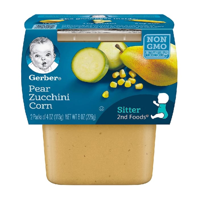 Gerber Sitter 2nd Fod Pack of 2 Pear Zucchini Corn 226g