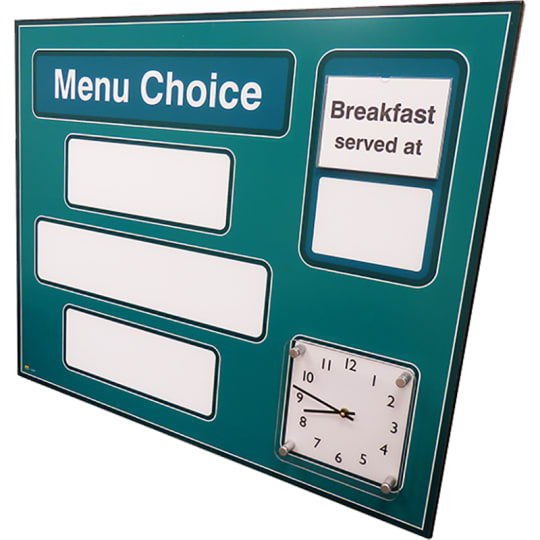 Dementia friendly Dry-wipe Menu Board with clock for Alzhemiers and Dementia care