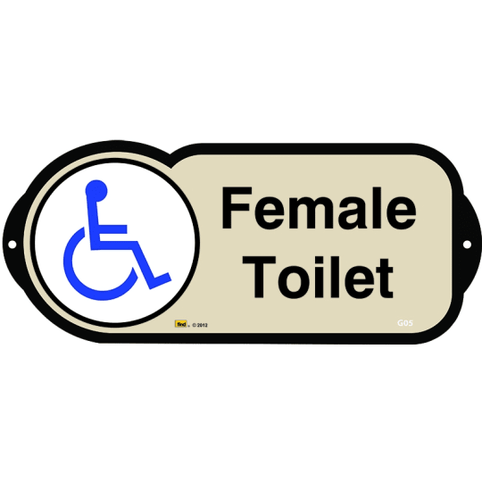 Dementia friendly Female Disabled Toilet sign for autism and learning disabilities - signage