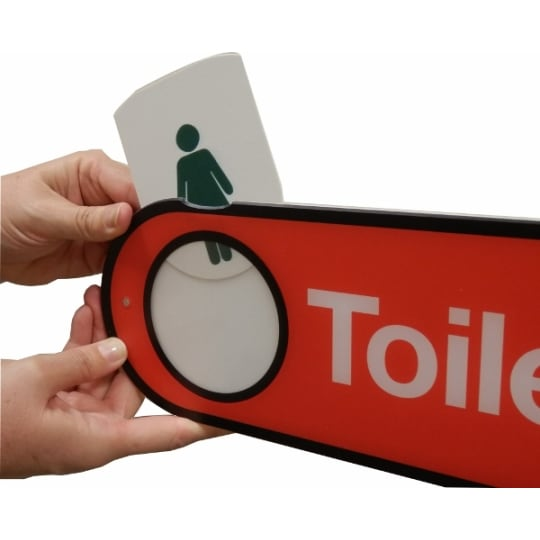 Toilet Sign - Hygenus Male / Female Interchangeable - Dementia Signage for Hospitals