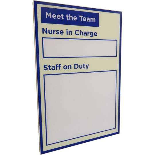 "Dementia friendly Dry-wipe ""Staff on Duty"" display board"