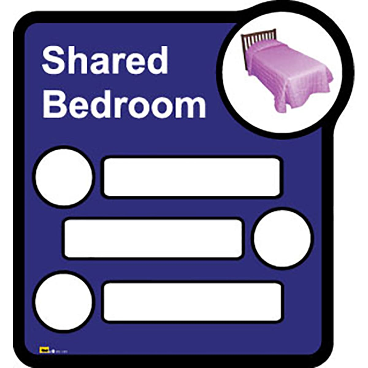 Bedroom Sign   - Interchangeable shared by three  - Dementia Signage