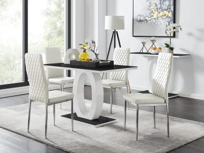 Giovani Black/White High Gloss Glass Dining Table and 4 ...