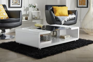 Alexis Modern White/Black High Gloss And Glass Coffee Table