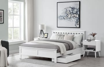 Azure Modern White Solid Pine Bed