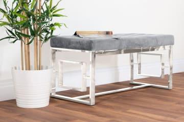 Cambridge Modern Chrome Metal & Grey Velvet Upholstered Luxury Bench