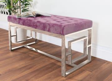 Cambridge Modern Chrome Metal & Pink Velvet Upholstered Luxury Bench