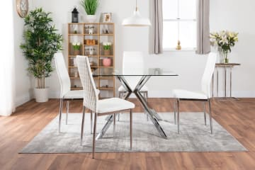 Lazio Square Glass Chrome Table And 4 Modern Milan Chairs Set