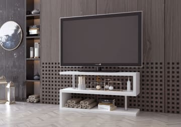 Siena White High Gloss And Chrome Metal TV Stand