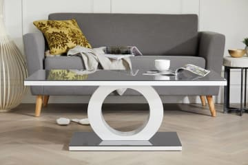 Giovani Modern Halo Grey/White High Gloss And Glass Coffee Table