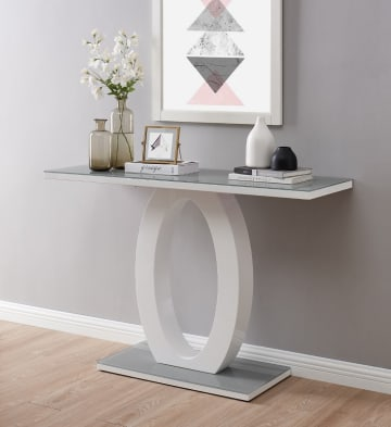 Giovani Modern Grey/White Halo High Gloss Glass Console Table