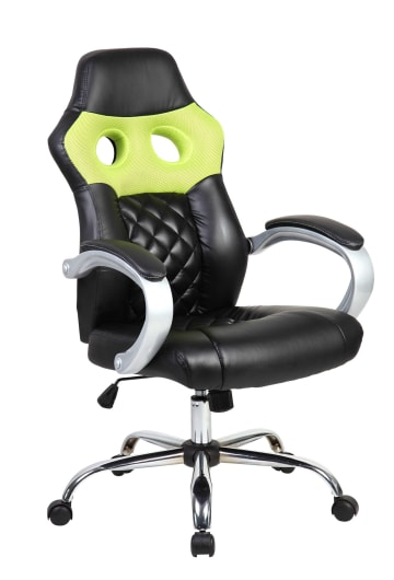 Green Hatched Racing Sports Style Office Computer Desk Chair