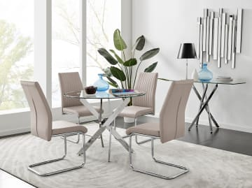 Novara Chrome Metal 100cm Round Glass Dining Table And 4 Lorenzo Dining Chairs