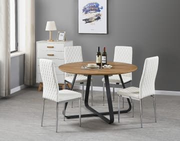 Santorini Brown Wood Contemporary Round Dining Table And 4 Milan Chairs Set