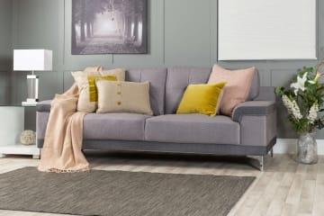 Torino Modern Grey 3 Seater Fabric Sofa