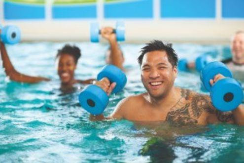Aqua aerobics with weights