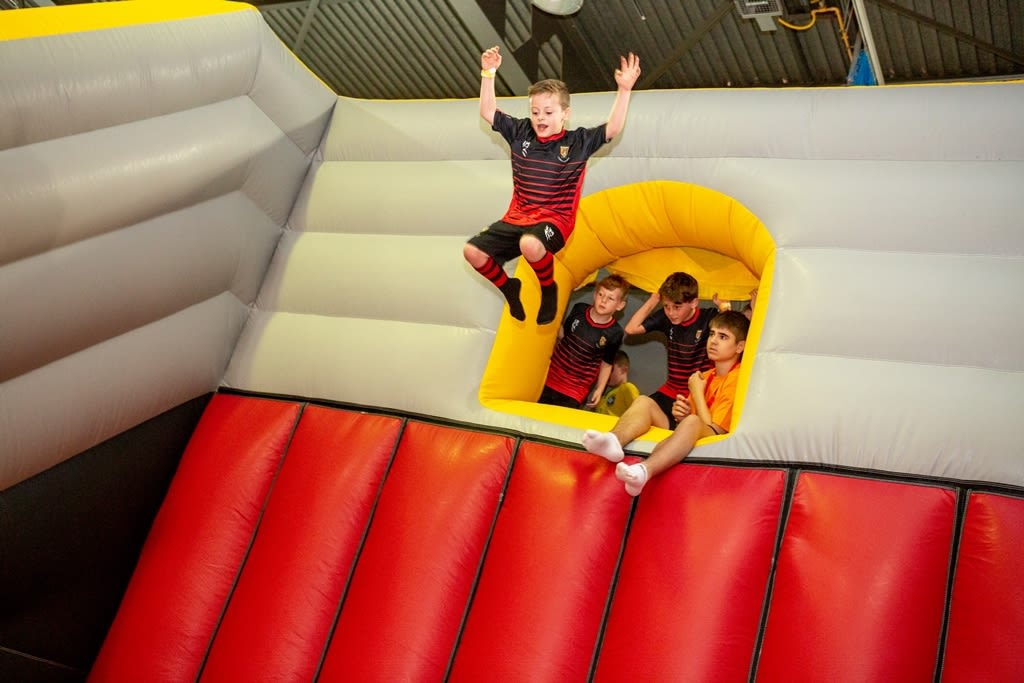 A child enjoying the free fall on Air-Venture at Better, Western Leisure Centre