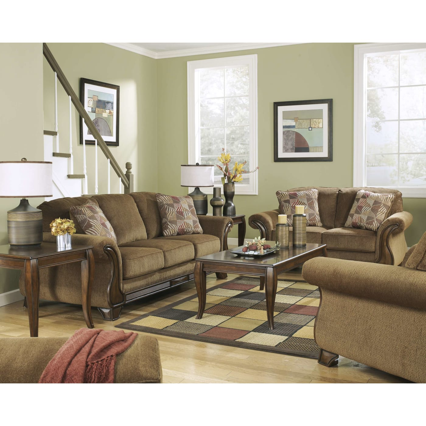 Ashley Furniture 14 Piece Package: Signature Design By Ashley Montgomery Mocha 3 Piece Living