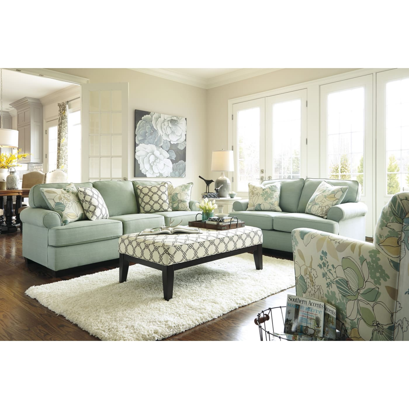 Signature Design By Ashley Daystar Seafoam 3 Piece Living