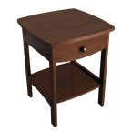 Winsome Wood Antique Walnut 1 Drawer Curved End Table/Night Stand